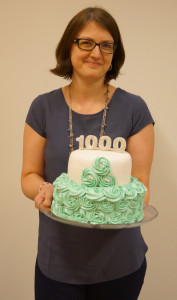 Susanne med 1000-tårtan
